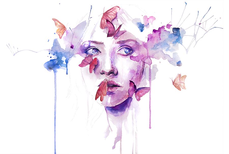 Watercolor Faces Painting Watercolor Woman Portrait Face