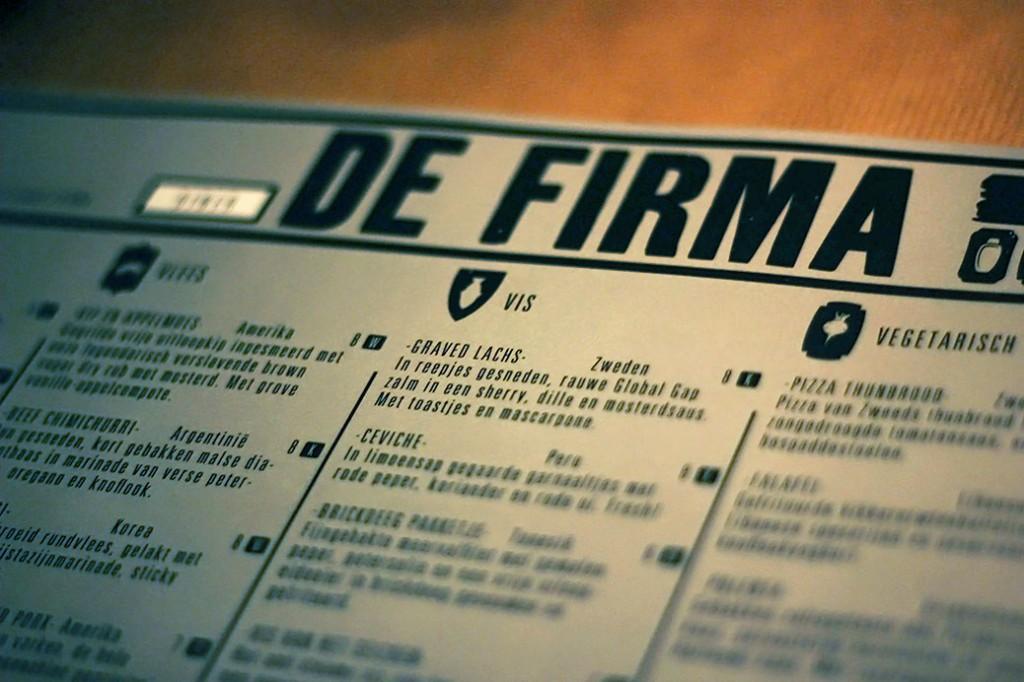 menukaart de firma nijmegen