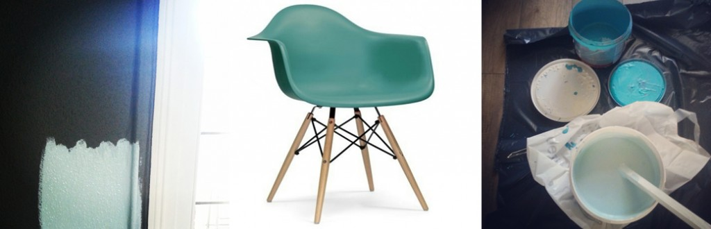 Huis turquoise Eames Mint muur
