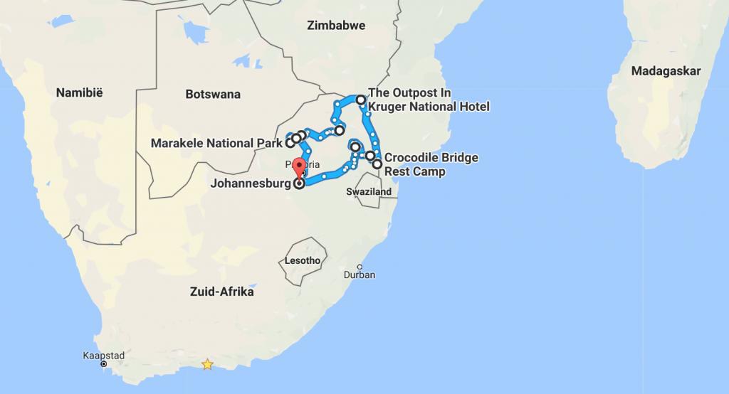 Zuid Afrika - Limpopo, Blyde River Canyon & Kruger National Park: DE ROUTE